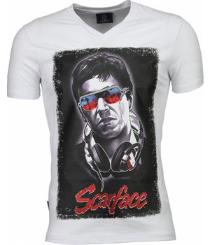 Local Fanatic Camisetas - Scarface Headphone Camisetas Personalizadas - Blanco