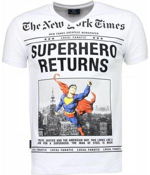 Local Fanatic Camisetas - SuperHero Returns Camisetas Personalizadas - Blanco