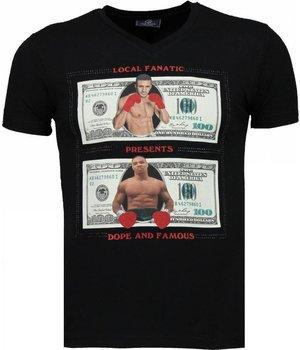 Local Fanatic Camisetas - Golden Boy vs Iron Mike  Camisetas Personalizadas - Negro