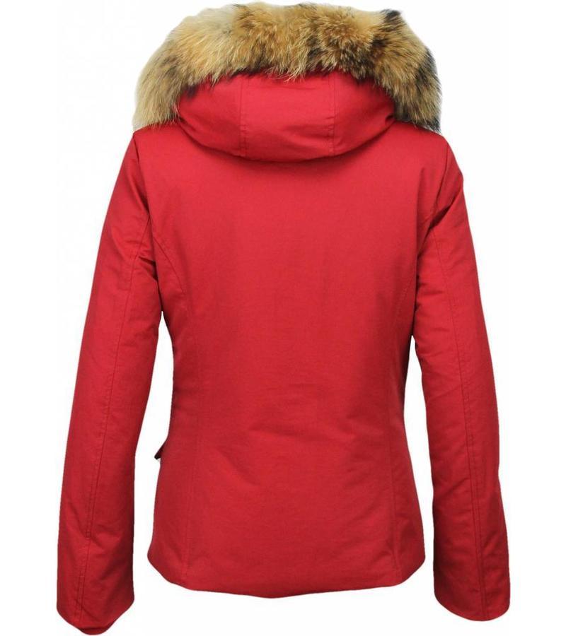 Beluomo Parkas mujer - Mujeres Abrigos de Invierno - Capucha pelo Grande - Short Wooly - Rojo