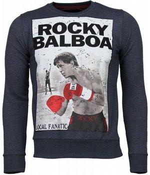 Local Fanatic Sudaderas - Rocky Balboa Rhinestone Sudaderas hombre - Azul