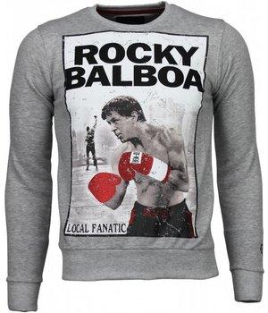 Local Fanatic Sudaderas - Rocky Balboa Rhinestone Sudaderas hombre - Gris