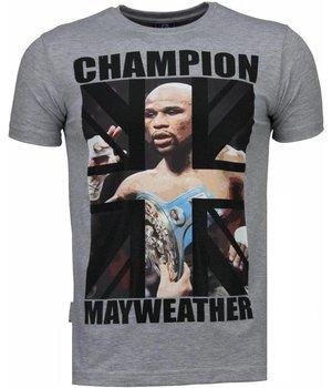 Local Fanatic Camisetas - Mayweather Rhinestone Camisetas Personalizadas  - Gris