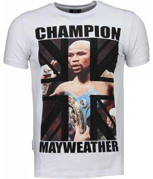 Local Fanatic Camisetas - Mayweather Rhinestone Camisetas Personalizadas - Blanco