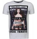 Local Fanatic Camisetas - Kim Kardashian Rhinestone Camisetas Personalizadas - Blanco