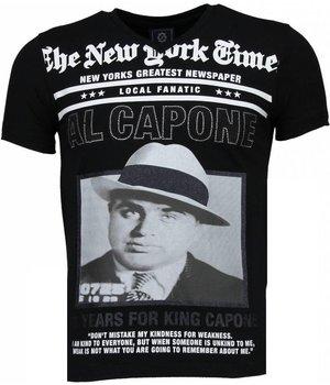 Local Fanatic Camisetas - Al Capone Rhinestone Camisetas Personalizadas - Negro