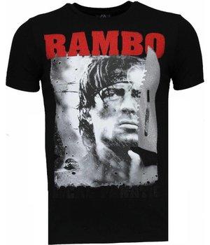 Local Fanatic Camisetas - Rambo Rhinestone Camisetas Personalizadas - Negro