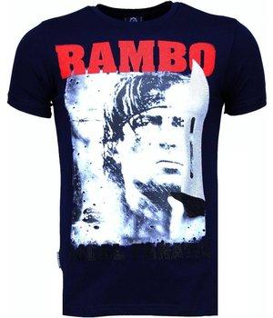 Local Fanatic Camisetas - Rambo Rhinestone Camisetas Personalizadas - Azul