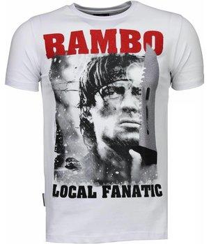 Local Fanatic Camisetas - Rambo Rhinestone Camisetas Personalizadas - Blanco