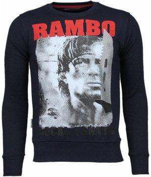 Local Fanatic Sudaderas - Rambo Rhinestone Sudaderas hombre - Azul