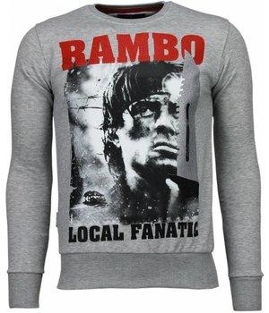 Local Fanatic Sudaderas - Rambo Rhinestone Sudaderas hombre - Gris