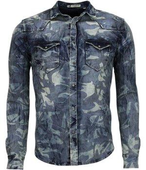 Enos Camisas vaqueras – Slim-fit Manga Larga Caballero - Motivo Ejército - Azul