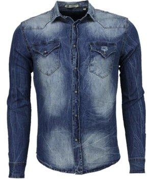 Enos Camisas vaqueras – Slim-fit Manga Larga Caballero - Basico Denim - Azul