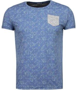 Black Number Camisetas - Patrón de la Hoja Verano - Azul
