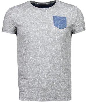 Black Number Camisetas - Patrón de la Hoja Verano - Gris
