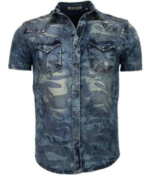 Enos Camisas Vaqueras para Hombres - Manga Corta - Army Motive - Azul