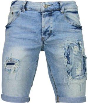 Enos Pantalones Cortos - Bermudas Hombres - Slim Fit Vaqueros Biker Cortos - Azul