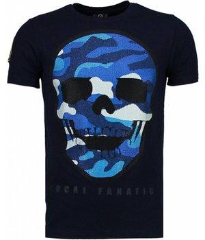 Local Fanatic Camisetas - Army Skull Rhinestone Camisetas Personalizadas - Azul