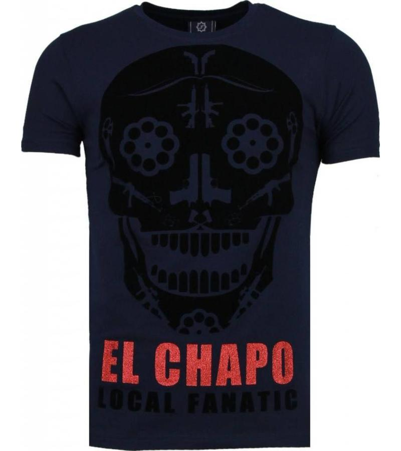 Local Fanatic Camisetas - El Chapo Flockprint Camisetas Personalizadas - Azul