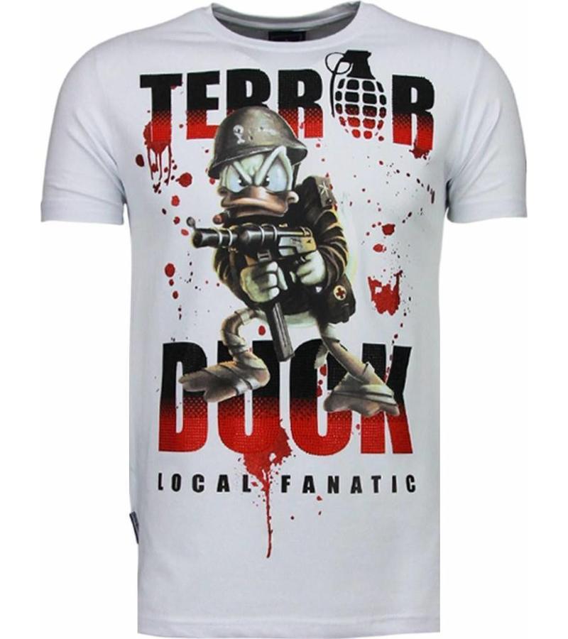 Local Fanatic Camisetas - Terror Duck Rhinestone Camisetas Personalizadas - Blanco