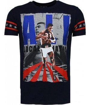 Local Fanatic Camisetas - Muhammad Ali Rhinestone Camisetas Personalizadas - Azul