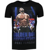 Local Fanatic Camisetas - Golden Boy Mayweather Rhinestone Camisetas Personalizadas - Negro
