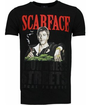Local Fanatic Camisetas - Scarface Boss Rhinestone Camisetas Personalizadas - Negro