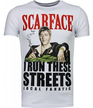 Local Fanatic Camisetas - Scarface Boss Rhinestone Camisetas Personalizadas - Blanco