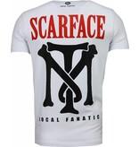 Local Fanatic Camisetas - Scarface Boss Rhinestone Camisetas Personalizadas - Blanco