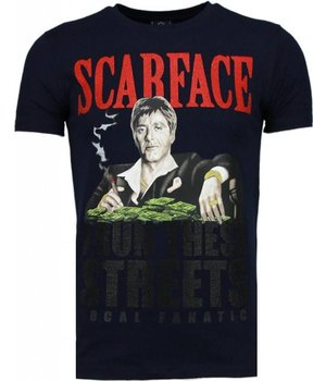Local Fanatic Camisetas - Scarface Boss Rhinestone Camisetas Personalizadas - Azul