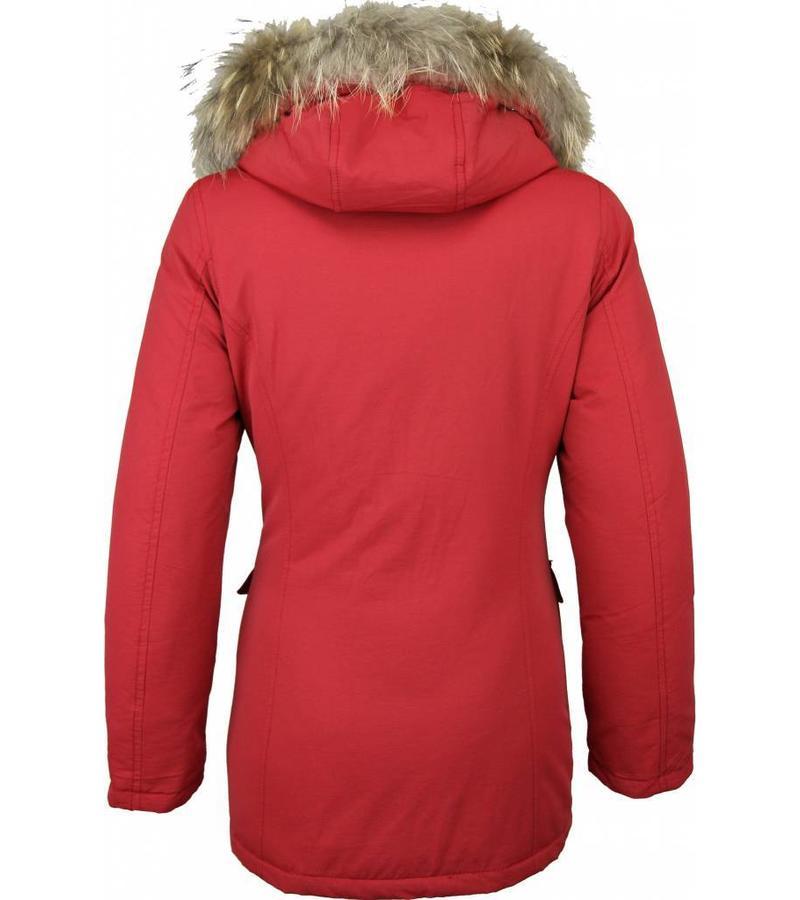 Beluomo Parkas mujer - Mujeres Wooly Chaqueta de Invierno Largo - Capucha pelo - Parka - Rojo