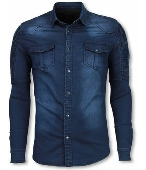 Diele & Co Biker Denim Camisa - Slim Fit Hombro Acanalada - Azul