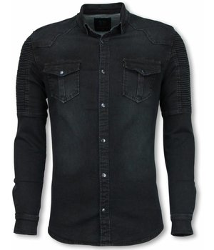 Diele & Co Biker Denim Camisa - Slim Fit Hombro Acanalada - Negro