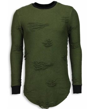 John H Jersey - Destroyed Look Ripped LongFit Jersey hombre - Verde