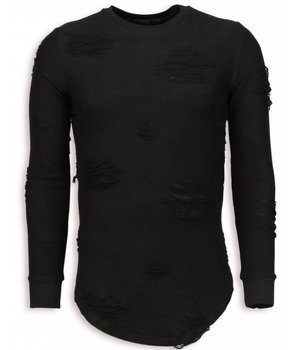 John H Jersey - Destroyed Look Ripped LongFit Jersey hombre - Negro