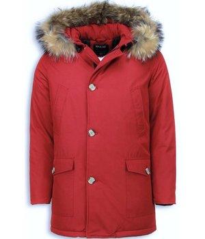Enos Parkas hombre - Abrigos de Invierno Hombre Wooly Largo - Cuelo de Piel Grande - Rojo