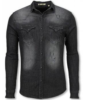 Enos Camisas Denim - Slim Fit Manga larga hombre - Lavado - Gris