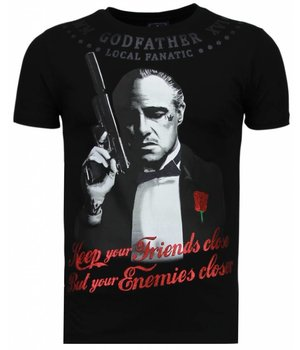 Local Fanatic Camisetas - Godfather Rhinestone Camisetas Personalizadas - Negro