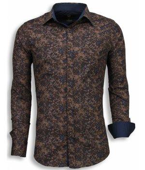 Gentile Bellini Camisas Italianas - Slim Fit Camisas - Camuflaje - Marron