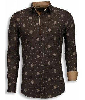 Gentile Bellini Camisas Italianas - Slim Fit Camisas - patrón de mosaico - Marron