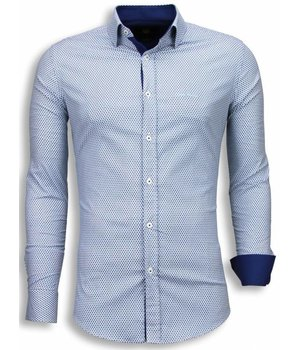 Gentile Bellini Camisas Italianas - Slim Fit Camisas - patrón de la colmena - Azul