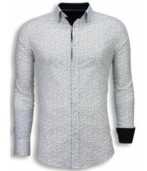 Gentile Bellini Camisas Italianas - Slim Fit Camisas - Modelo De Las Hojas - Blanco