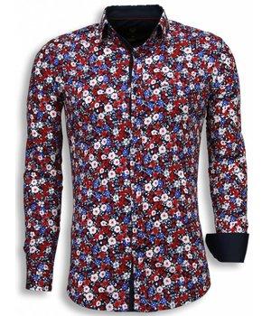 Gentile Bellini Camisas Italianas - Slim Fit Camisas - Modelo Del Ramo - Azul