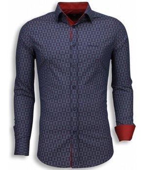 Gentile Bellini Camisas Italianas - Slim Fit Camisas - Scale Pattern - Purpura