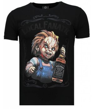 Local Fanatic Chucky Whiskey - Rhinestone T-shirt - Negro