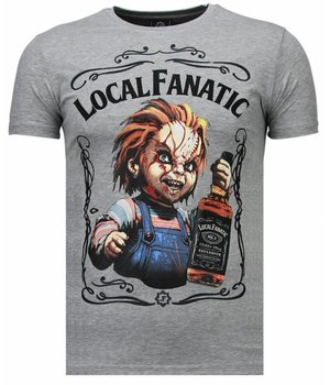 Local Fanatic Chucky Whiskey - Rhinestone T-shirt - Gris