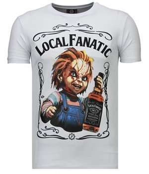 Local Fanatic Chucky Whiskey - Rhinestone T-shirt - Blanco