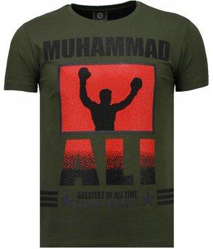 Local Fanatic Camisetas - Muhammad Ali Rhinestone Camisetas Personalizadas - Verde