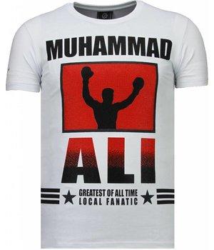 Local Fanatic Camisetas - Muhammad Ali Rhinestone Camisetas Personalizadas - Blanco