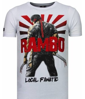Local Fanatic Camisetas - Rambo Shine Rhinestone Camisetas Personalizadas - Blanco